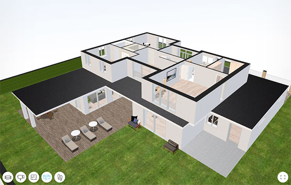 Interactive 3D house models from 2D ground plans